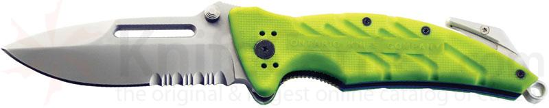 Ontario XR1 (Safety Green) Xtreme Rescue Tool 3.375 inch Combo Blade, Glass Breaker and Strap Cutter