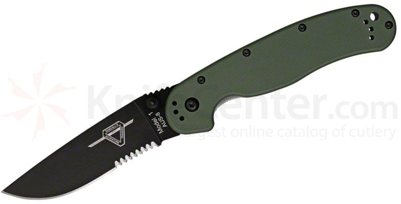 Ontario RAT Model 1 Folding Knife 3.6 inch Black Combo Blade, OD Green Nylon Handles