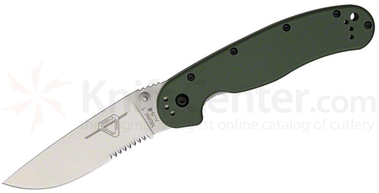 Ontario RAT Model 1 Folding Knife 3.6 inch Satin Combo Blade, OD Green Nylon Handles