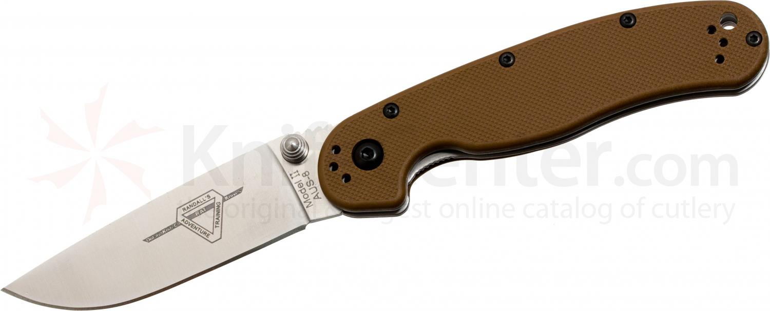 Ontario RAT Model 2 Folding 3.0 inch Satin Plain Blade, Coyote Brown Nylon Handles