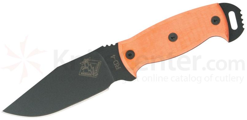 Ontario Ranger Series RD4 Ready Detachment 4.5 inch Plain Blade, Orange G10 Handles