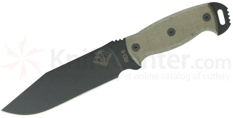 Ontario Ranger Series RD6 Ready Detachment 6 inch Plain Blade, Black Micarta Handles