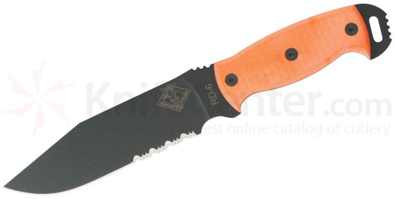 Ontario Ranger Series RD6 Ready Detachment 6 inch Combo Blade, Orange G10 Handles