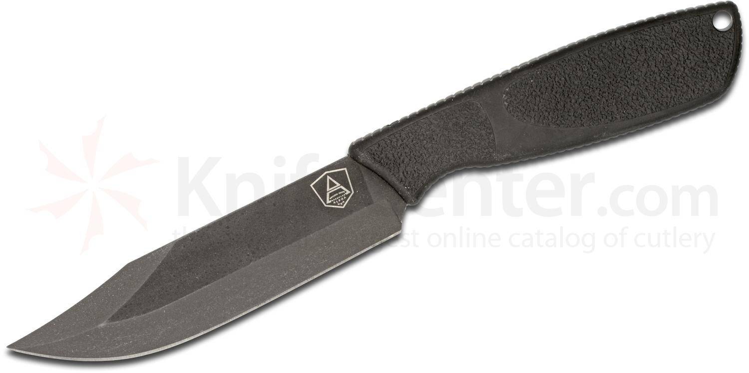Ontario Spec Plus Alpha Survival Fixed 5 inch Black Plain Blade, Synthetic Rubber Handle, Nylon Sheath