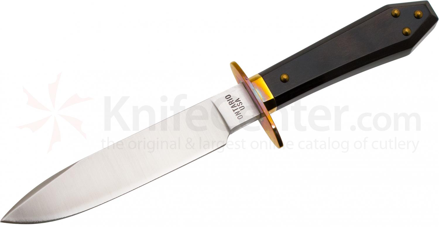 Ontario Bagwell Bowie Drifter Fixed 6-7/8 inch Satin Blade, Wood Handle, Leather Sheath
