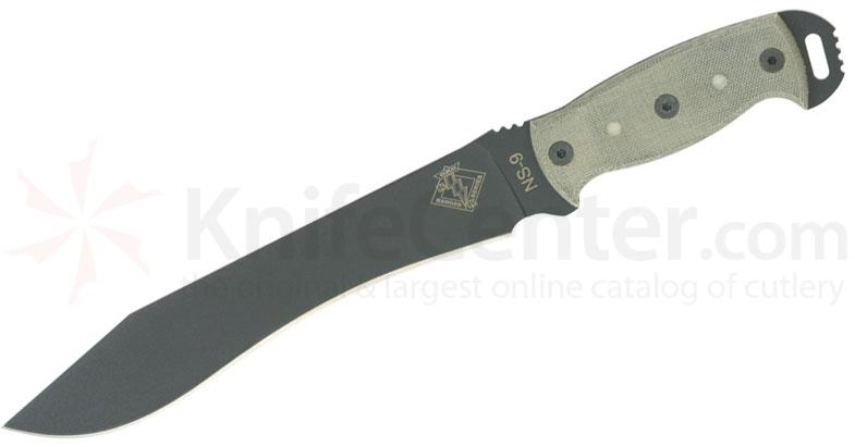 Ontario Ranger Series Night Stalker 9 Fixed 9.5 inch Blade, Black Micarta Handles with Fluorescent Drops