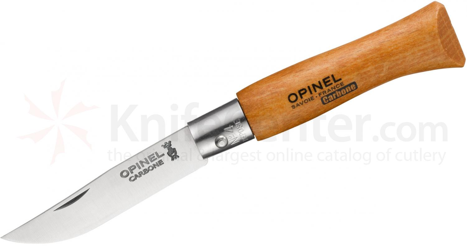 Opinel N04 Folding Knife 2 inch X90 Carbon Plain Blade, Beechwood Handle