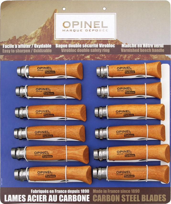 Opinel 12-Piece Carbon Steel Assortment, Oak Wood Handles