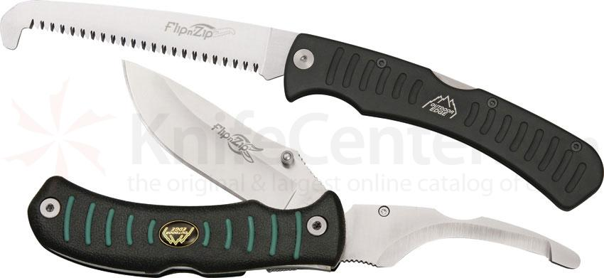 Outdoor Edge Flip n' Zip Knife and Saw Combo 3.5 inch Blade, Kraton Handles, Nylon Sheath