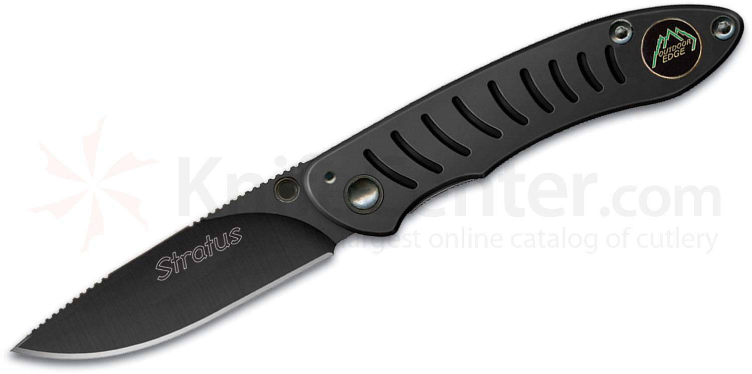 Outdoor Edge Stratus Folding Knife 3 inch Black Plain Blade, Stainless Steel Handles