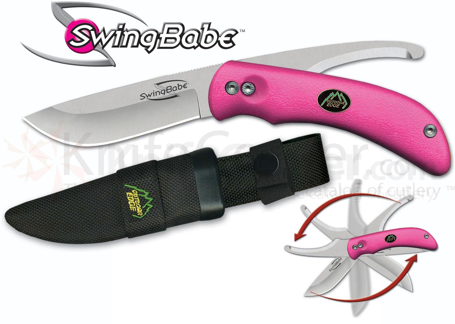 Outdoor Edge SwingBabe, Rotating 2-Blade Skinning/Gutting Knife Combo, Pink Kraton Handles
