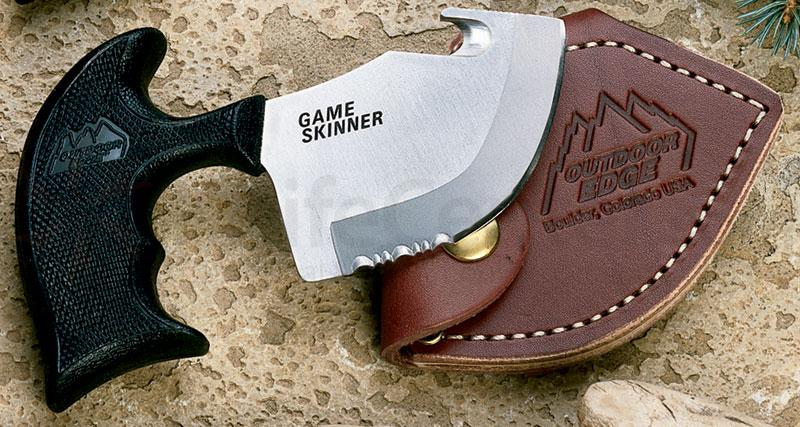 Outdoor Edge Game Skinner with Gut Hook Combo Edge 5 1/2 inch Overall with Leather Sheath