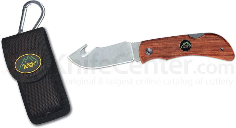 Outdoor Edge Pocket-Hook 3.2 inch Gut Hook Blade with Wood Handle and Nylon Sheath