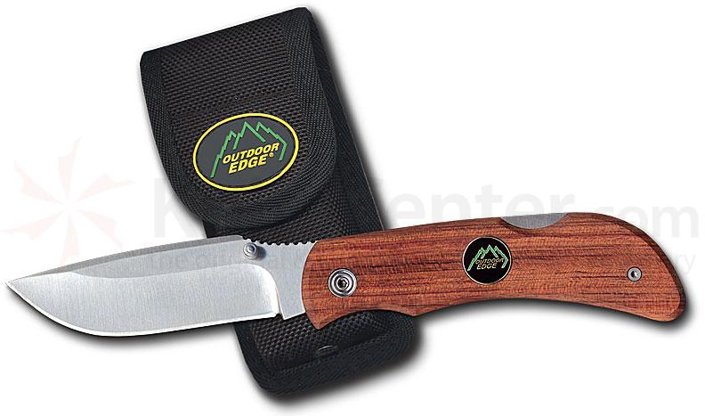 Outdoor Edge Pocket Lite 3.2 inch Plain Edge Blade w/Bubinga Wood Handle