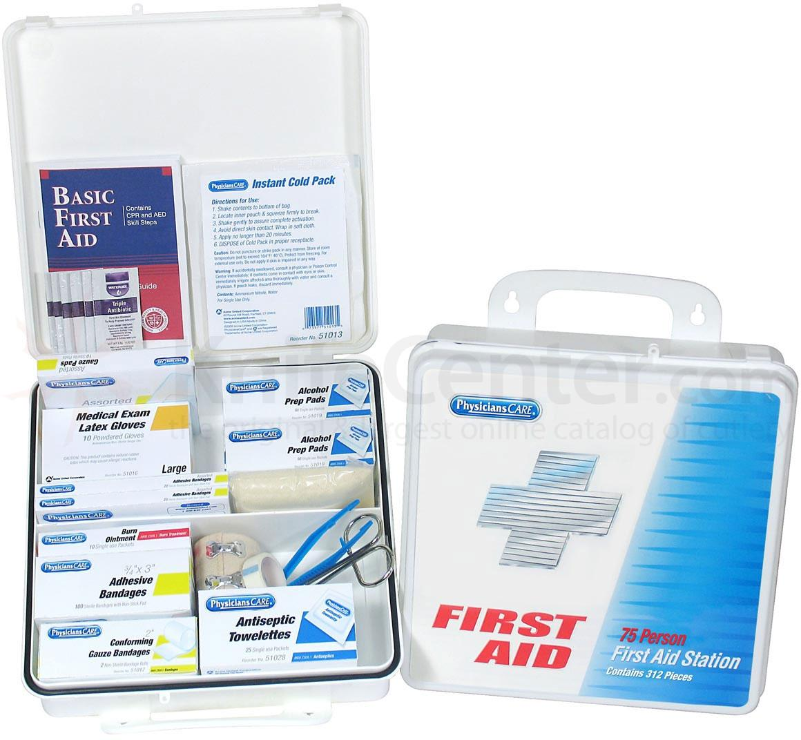 PhysiciansCare Office First Aid Kit for 75 People, Contains 312 Pieces