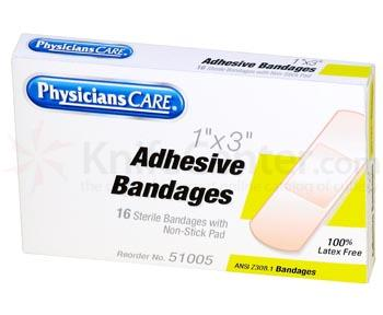 PhysiciansCare Brand 1 inch x 3 inch Plastic Bandages, 16/box