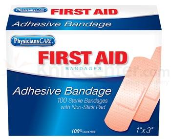 PhysiciansCare Brand 1 inchX3 inch Plastic Bandages, 100/Bx