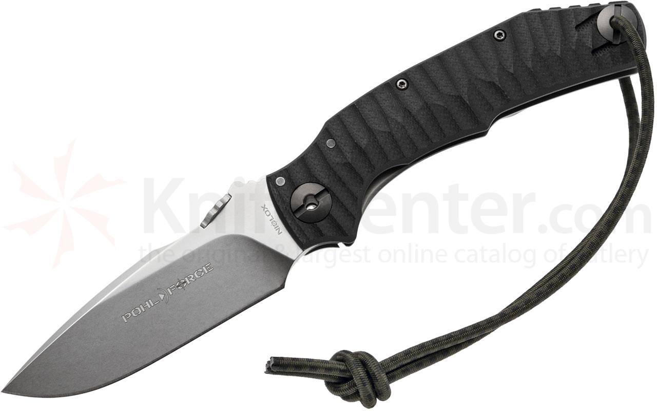 Pohl Force Mike One Outdoor Folder 3.74 inch Stonewashed Niolox Plain Blade, Black G10/Titanium Handle