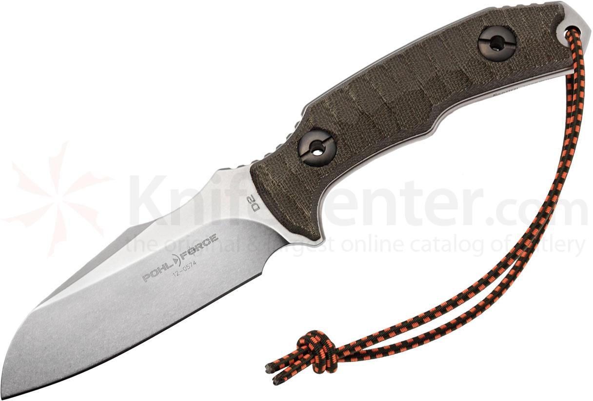 Pohl Force Kilo One Para Rescue Fixed 4.56 inch Stonewashed D2 Plain Blade, Micarta Handles, Leather Sheath