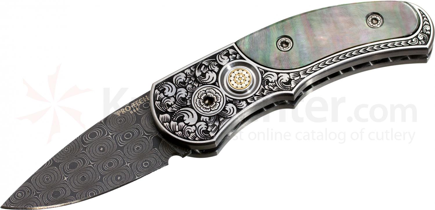 Protech Custom Runt J4 Ultimate AUTO 1.94 inch Raindrop Damascus Blade, Mother of Pearl Inlays