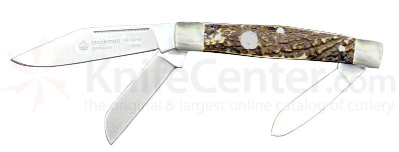 Puma Bantam Staghorn Stag Handle Folder with 2.3 inch Clip Point Blade