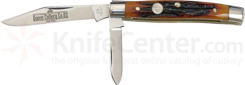 Queen Serpentine w/2 Blades Aged Honey Amber Stag Bone Handle 3-1/4 inch