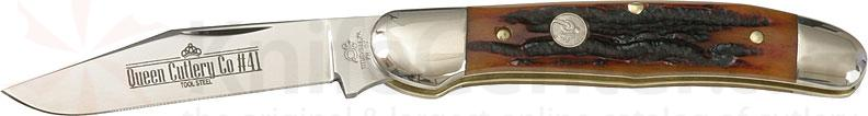 Queen Copperhead w/1 Blade & Aged Honey Amber Stag Bone Handle 3-3/4 inch