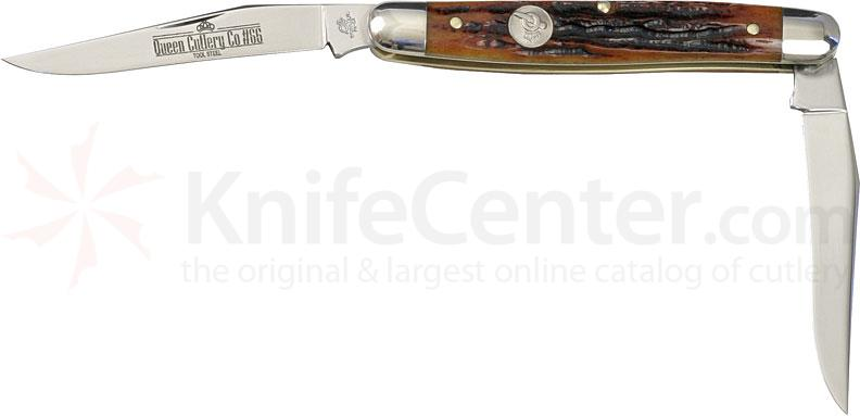 Queen Muskrat w/2 Blades & Aged Honey Amber Stag Bone Handle 4 inch