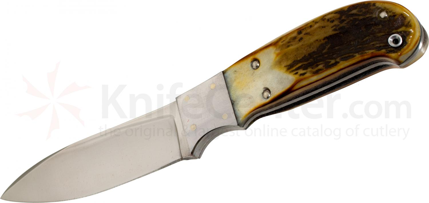 Queen Joe Kious Hunter Fixed 3-5/8 inch Blade, Burnt Stag Bone Handles (01419)