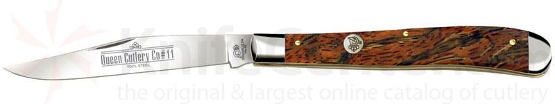Queen Curly Zebra African Hardwood #11CZ Utility, 4 inch Closed D2 Steel Blade