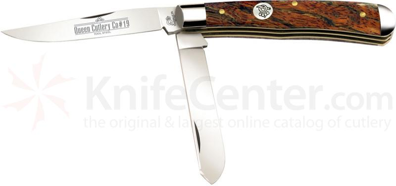 Queen Curly Zebra African Hardwood #19CZ Premium Trapper, 4.125 inch Closed D2 Steel Blade