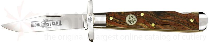 Queen Curly Zebra African Hardwood #1LCZ Swing Guard Lock, 4.5 inch Closed D2 Steel Blade