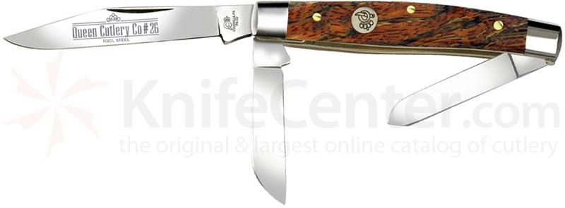 Queen Curly Zebra African Hardwood #26CZ Small Stockman, 3.25 inch Closed D2 Steel Blade