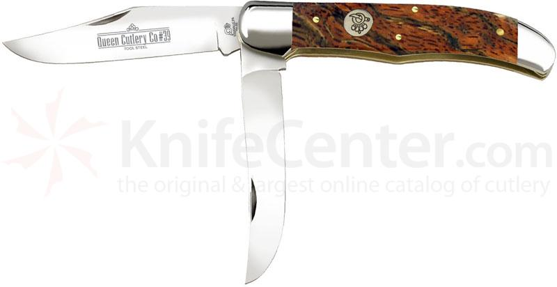 Queen Curly Zebra African Hardwood #39CZ Folding Hunter, 5.25 inch Closed D2 Steel Blade