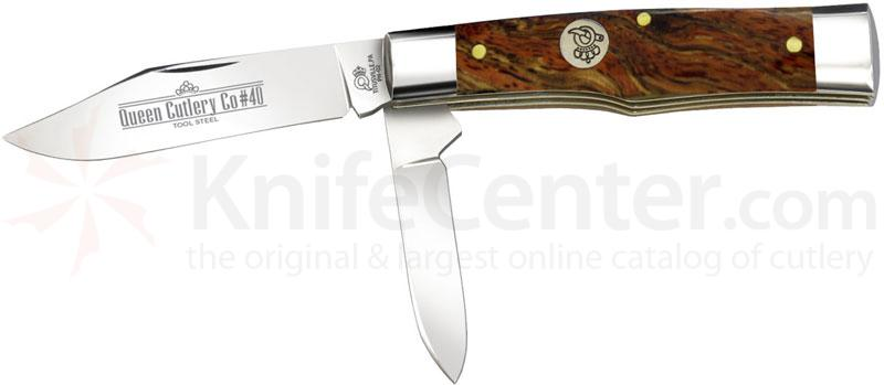Queen Curly Zebra African Hardwood #40CZ Gunstock, 3.5 inch Closed D2 Steel Blade