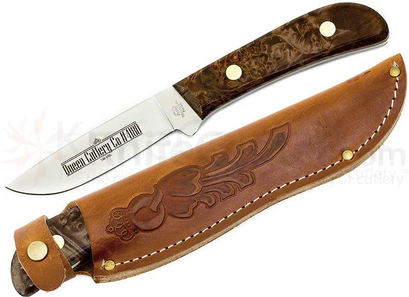 Queen 4180M Drop Point Hunter Fixed 3.75 inch D2 Blade, Maple Handles, Leather Sheath