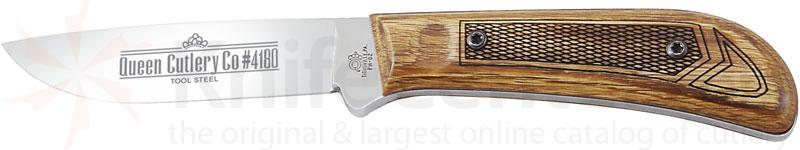 Queen Premium Drop Point Hunter 3.5 inch D2 Steel Blade, Solid Oak Handles