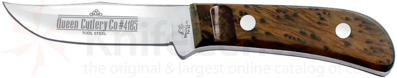 Queen Premium Sabre Hunter 3.75 inch D2 Mirror Polished Blade, Gold Redwood Burl Handles D2 Steel Blade