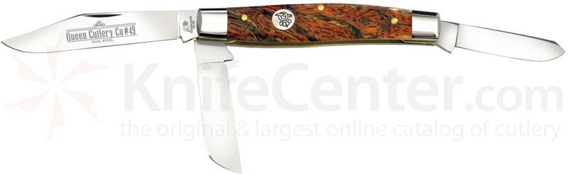 Queen Curly Zebra African Hardwood #49CZ Cattle King, 4.25 inch Closed D2 Steel Blade