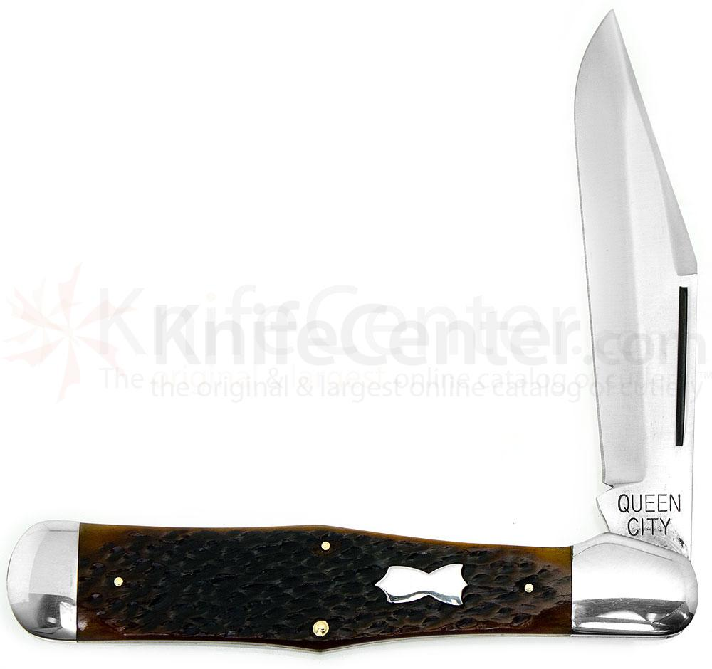 Queen City Jumbo Folding Hunter 5-1/4 inch Closed, Aged Honey Amber Stag Bone Handle