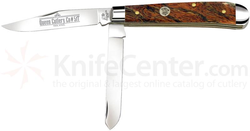 Queen Curly Zebra African Hardwood #51CZ-T Mini Trapper, 3.62 inch Closed D2 Steel Blade