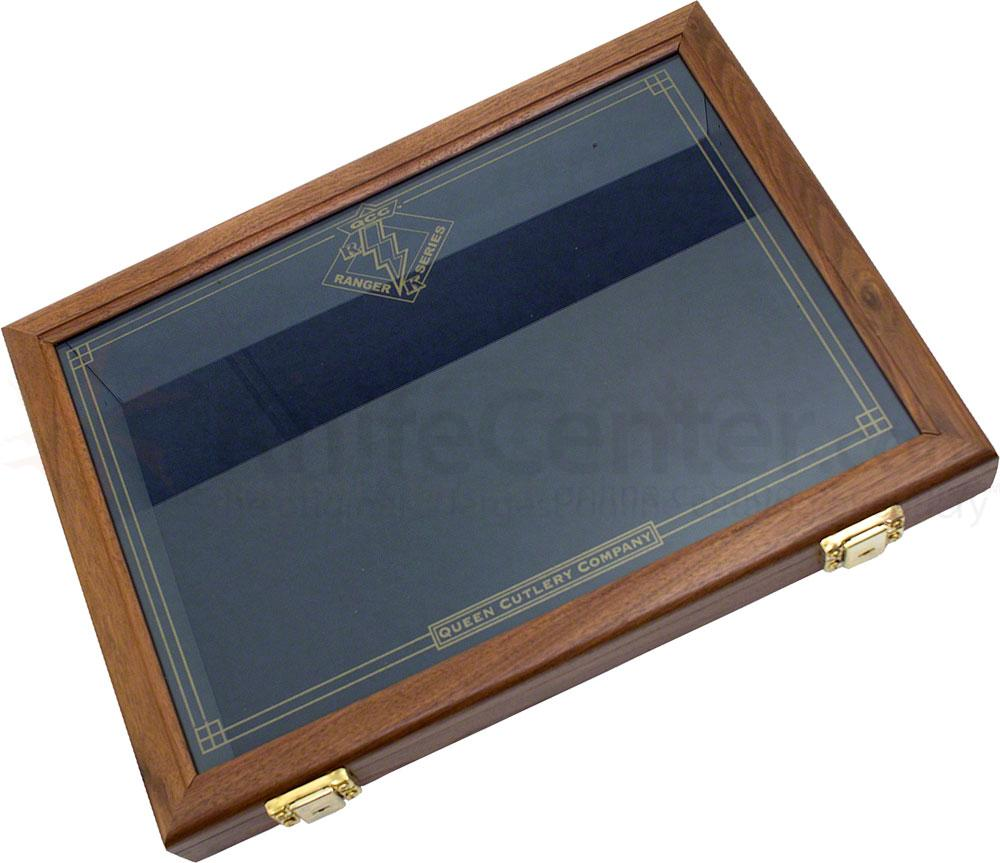 Queen Ranger Walnut Wood Display Case, 18 inch x 13 inch x 2 inch