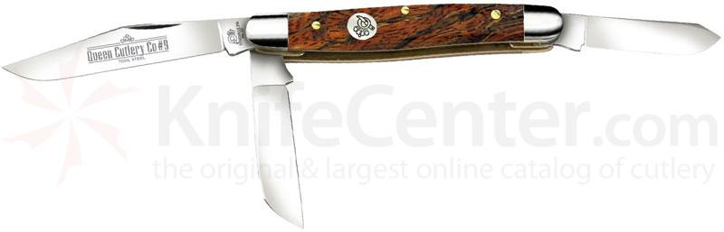 Queen Curly Zebra African Hardwood #9CZ Large Stockman, 4 inch Closed D2 Steel Blade