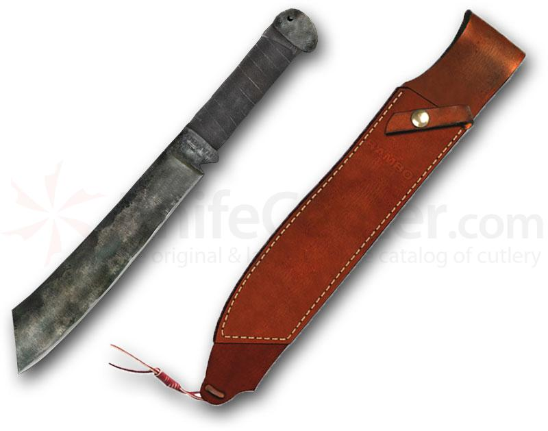 Rambo IV Standard Edition 12 inch Carbon Steel Blade, Leather Sheath