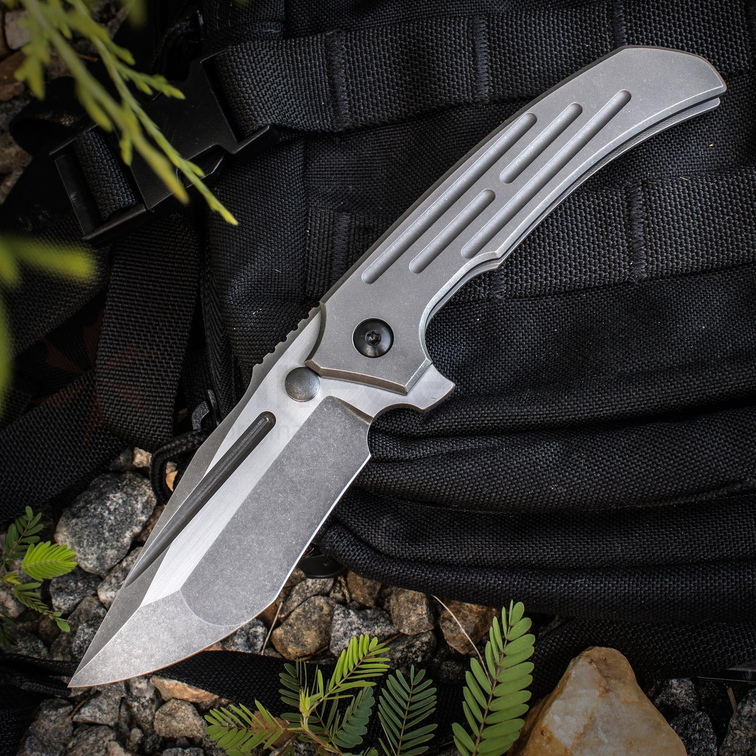 Peter Rassenti Custom Satori Integral Flipper 3.625 inch CTS-XHP Triple Ground Two-Tone Blade, Milled Titanium Handle, Mokuti Clip