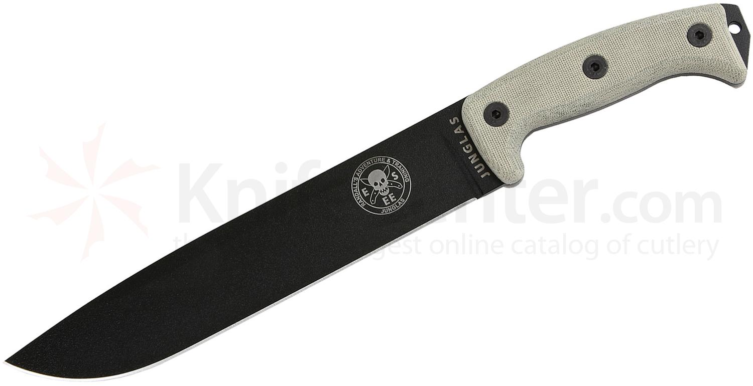 ESEE Knives Junglas Machete 10.38 inch Black Blade, Micarta Handles, Kydex Sheath