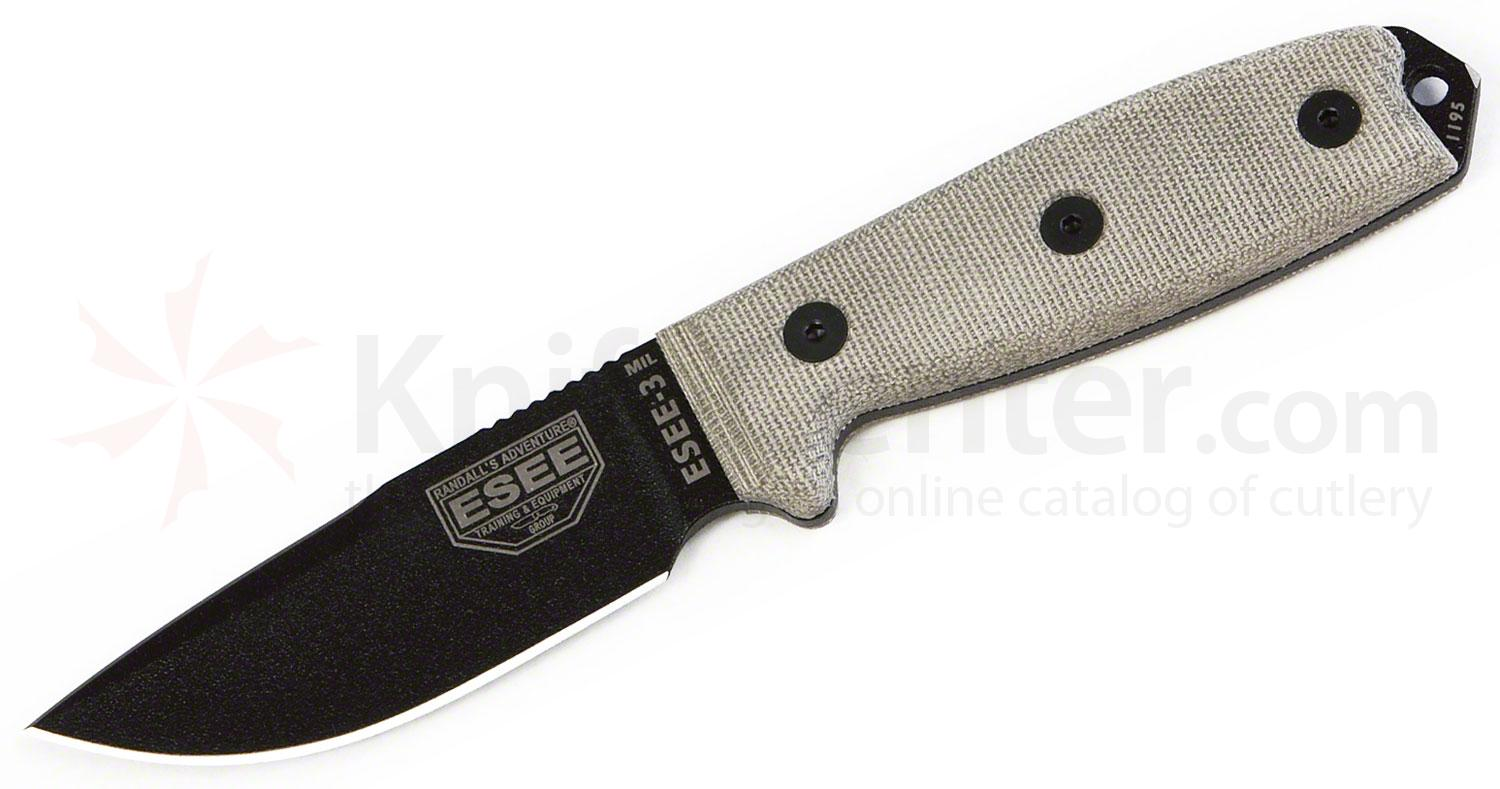ESEE Knives ESEE-3MIL-P-CP Sharpened Clip Point Plain Edge, OD Sheath, MOLLE Back, Clip Plate, Paracord