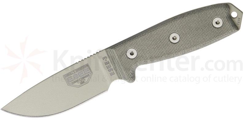 ESEE Knives ESEE-3P-DT Desert Tan Plain Edge, FG Sheath, Clip Plate, Paracord