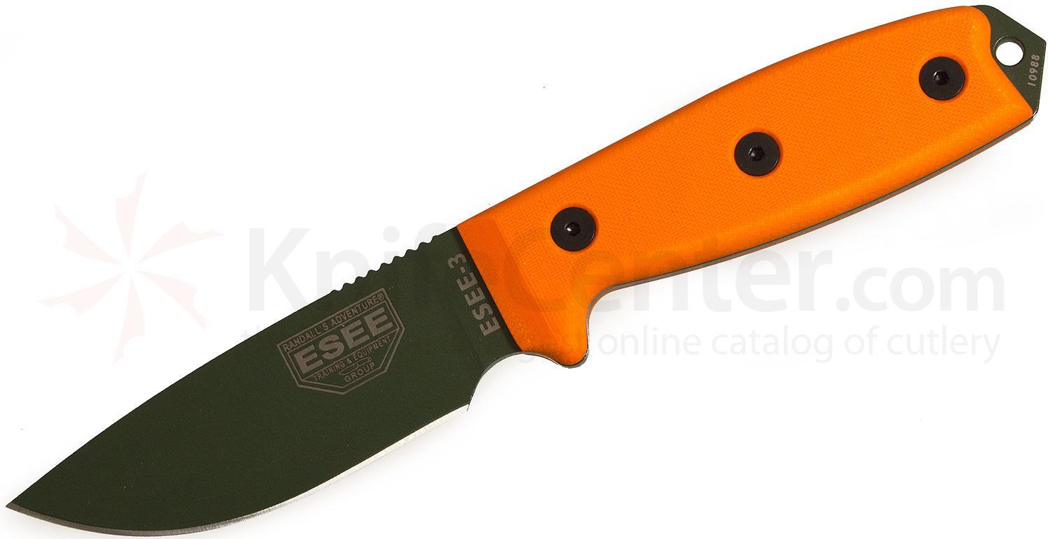 ESEE Knives ESEE-3P-MB-OD OD Green Plain Edge, Orange G10 Handles, Black Sheath, MOLLE Back, Boot Clip
