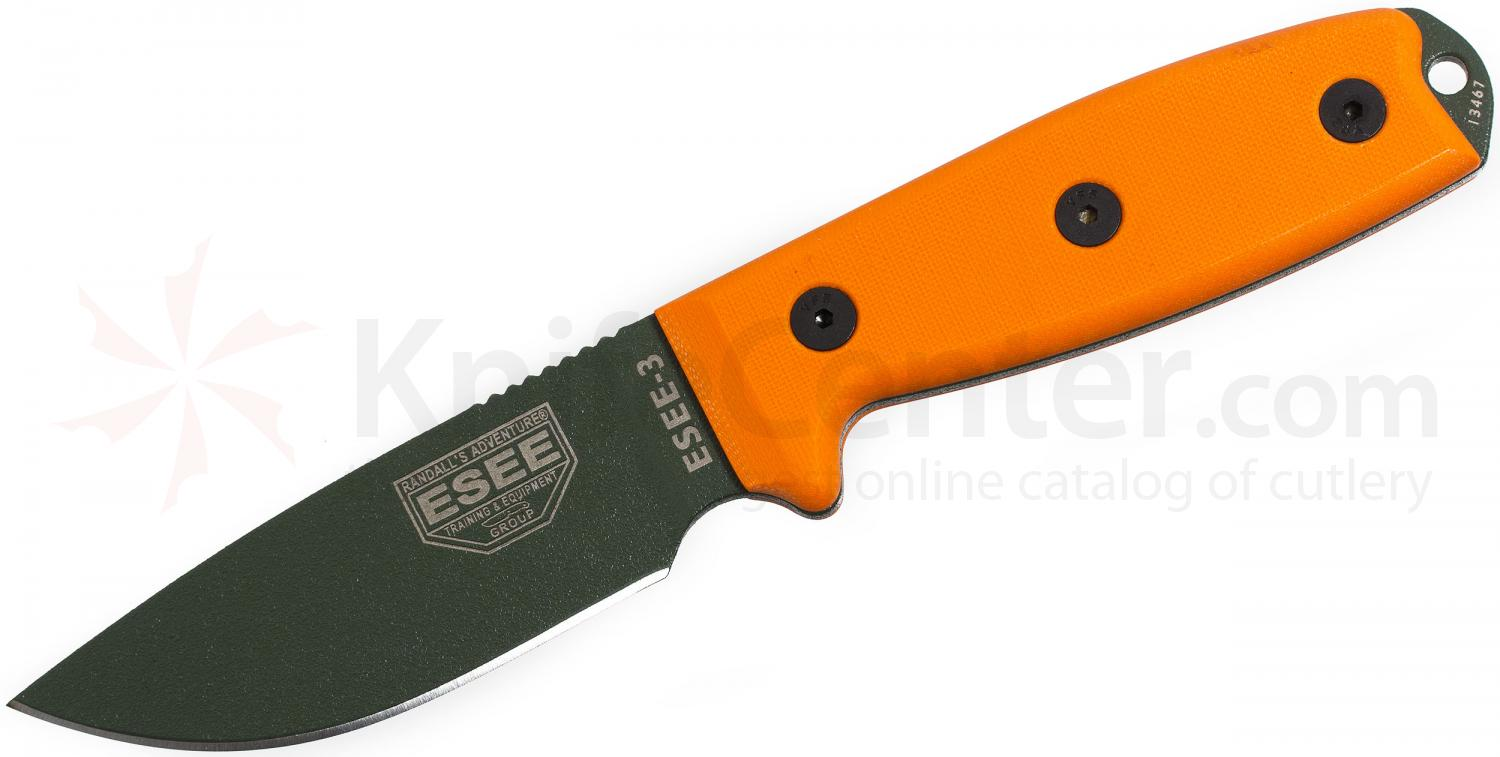 ESEE Knives ESEE-3PM-OD OD Green Plain Edge, Orange G10, Rounded Pommel, Black Sheath, Clip Plate, Paracord